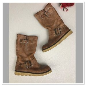 ALDO Leather Combat Boots round toe pull on boots